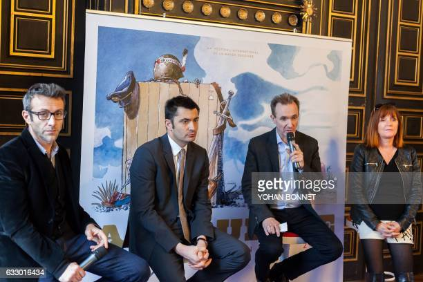 General delegate of the Angouleme International Comic Festival Franck Bondoux speaks during a press conference with Festival's artistic director...