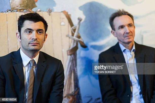 General delegate of the Angouleme International Comic Festival Franck Bondoux and Mayor of Angouleme Xavier Bonnefont attend a press conference...