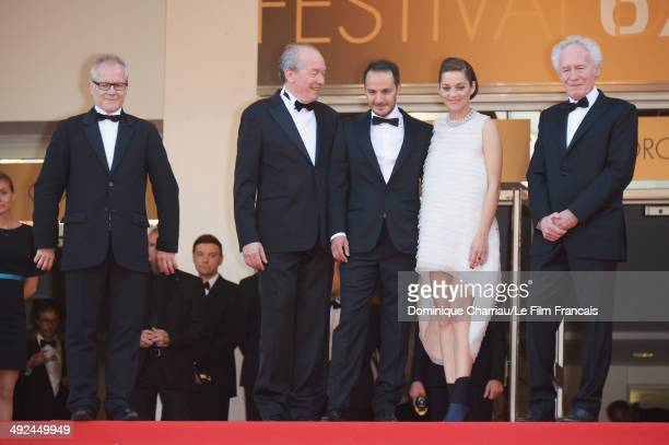 General Delegate of the Cannes Film Festival Thierry Fremaux JeanPierre Dardenne actors Marion Cotillard Fabrizio Rongione and director Luc Dardenne...