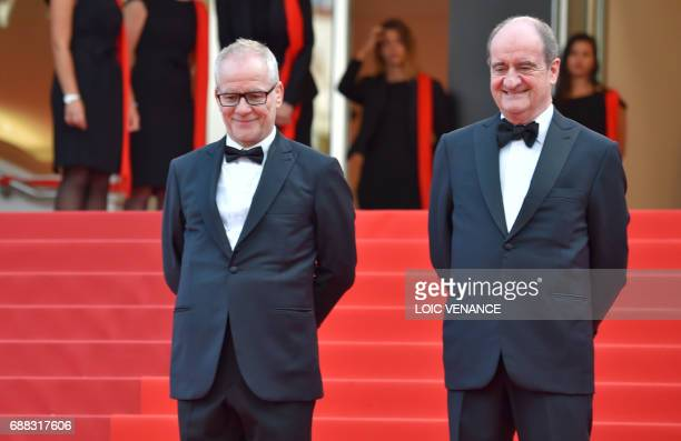 General Delegate of the Cannes Film Festival Thierry Fremaux and President of the Cannes Film Festival Pierre Lescure wait for guests to arrive on...