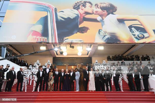 General Delegate of the Cannes Film Festival Thierry Fremaux and President of the Cannes Film Festival Pierre Lescure welcome Finnish actor Joonas...