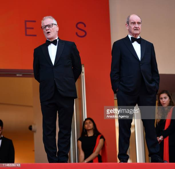 General Delegate of the Cannes Film Festival Thierry Fremaux and Cannes Film Festival President Pierre Lescure arrive for the Closing Awards Ceremony...