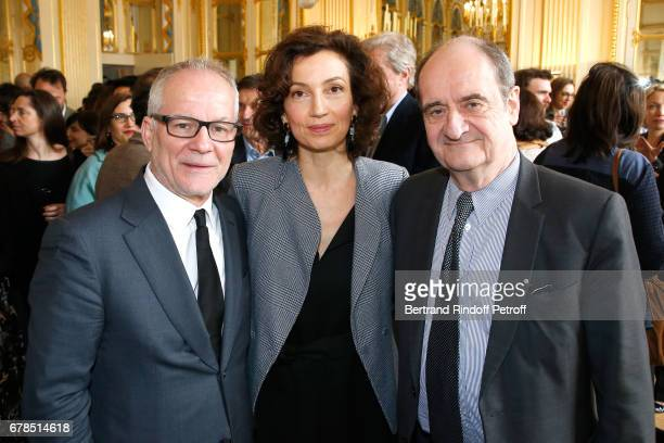 General Delegate of the Cannes Film Festival Thierry Fremaux French Minister of Culture and Communication Audrey Azoulay and President of Festival de...