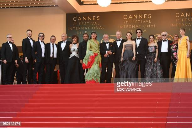 General Delegate of the Cannes Film Festival Thierry Fremaux poses with Spanish actor Oscar Jaenada Spanish actor Sergi Lopez British screewriter...