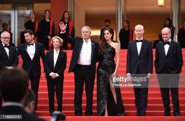 General Delegate Thierry Fremaux, Cannes Mayor David Lisnard, Frederique Bredin, Alain Delon, Anouchka Delon, French Minister of Culture Franck...