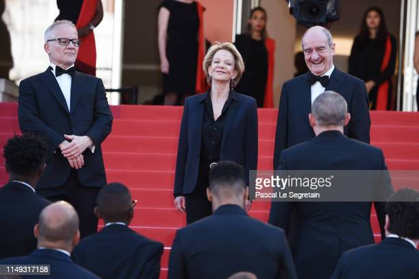 General Delegate Thierry Fremaux Frederique Bredin and President of the Cannes Film Festival Pierre Lescure greet the cast of Les Miserables at the...