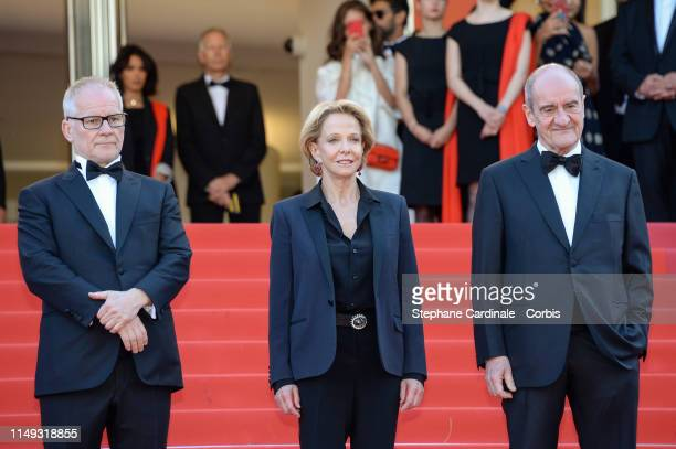"""General Delegate Thierry Fremaux, Frederique Bredin and President of the Cannes Film Festival Pierre Lescure attend the screening of """"Les Miserables""""..."""