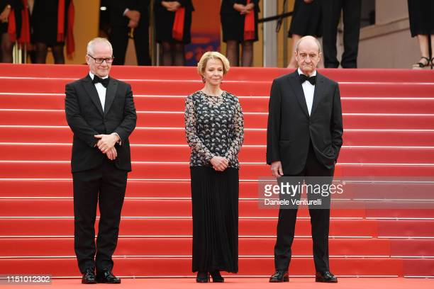 General Delegate Thierry Fremaux Frederique Bredin and President of the Cannes Film Festival Pierre Lescure attend the screening of Oh Mercy during...