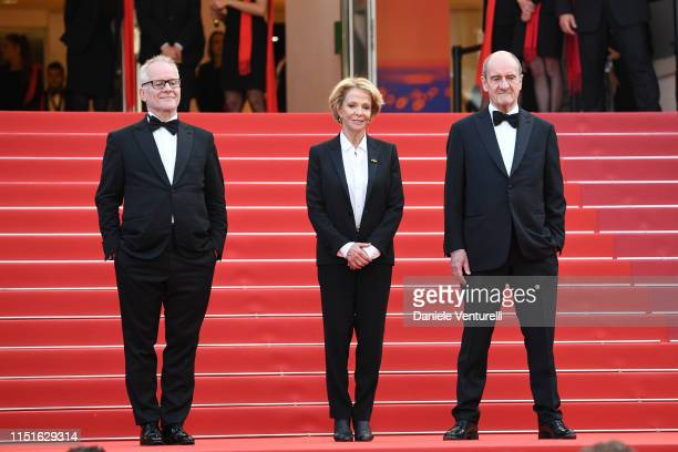 General Delegate Thierry Fremaux Frederique Bredin and President of the Cannes Film Festival Pierre Lescure attend the closing ceremony screening of...
