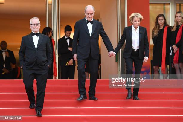General Delegate Thierry Fremaux President of the Cannes Film Festival Pierre Lescure and Frederique Bredin attends the closing ceremony screening of...