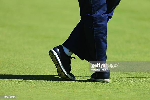 General detail of Ernie Els' golf shoes during the second round of the BMW PGA Championship on the West Course at Wentworth on May 25 2012 in...