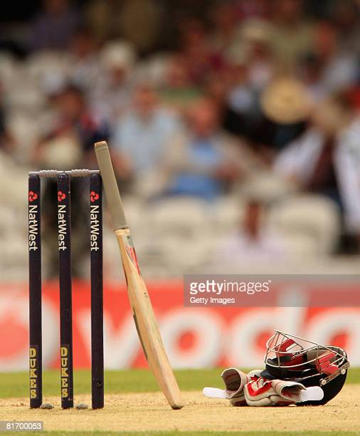 General detail showing the stumps bat helmet and gloves during the Fourth NatWest Series One Day International match between England and New Zealand...