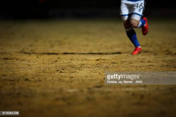 A general detail view of the sand on the pitch at Spotland home stadium of Rochdale during The Emirates FA Cup Fourth Round Replay at Spotland...