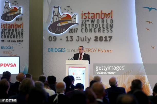 General Director Decio Oddone delivers a speech during the 22nd World Petroleum Congress in Istanbul Turkey on July 11 2017