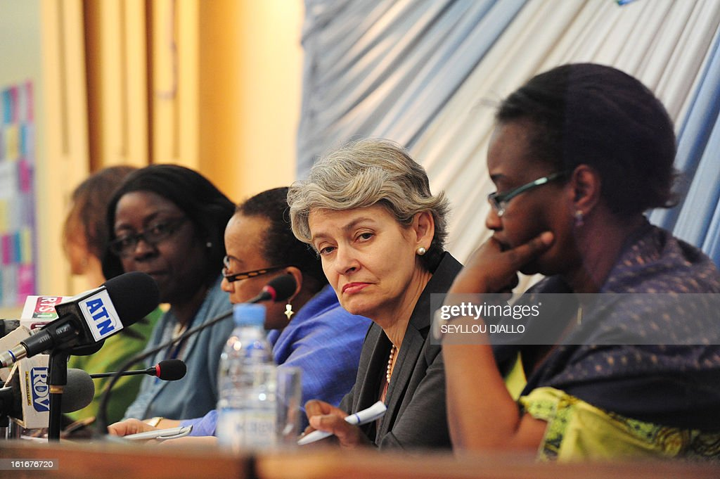 UNESCO general director Irina Bokova of Bulgaria delivers a speech during a press conference, on February 14, 2013 in Dakar.