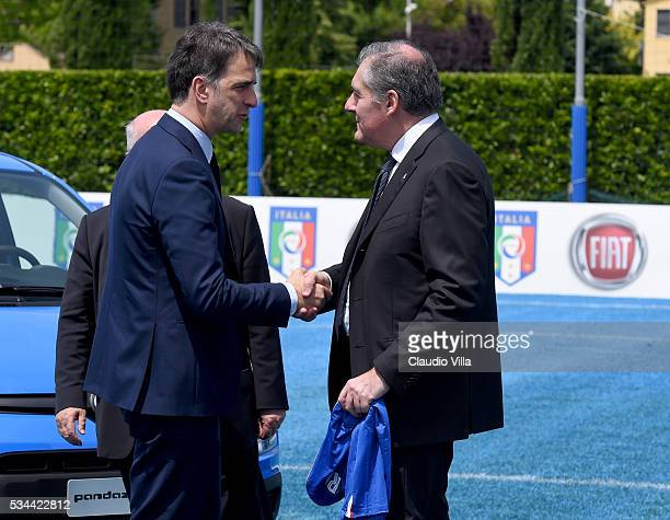 General Director Italy Michele Uva and COO FCA Alfredo Altavilla attend Unveil New Panda Azzurri Car at Coverciano on May 26 2016 in Florence Italy