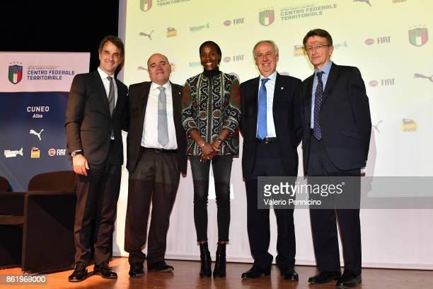 FIGC General Director Michele Uva Alessandro D Este Fiona May Edo Milanesio and Claudio Tibaldi attend during the Italian Football Federation Unveils...