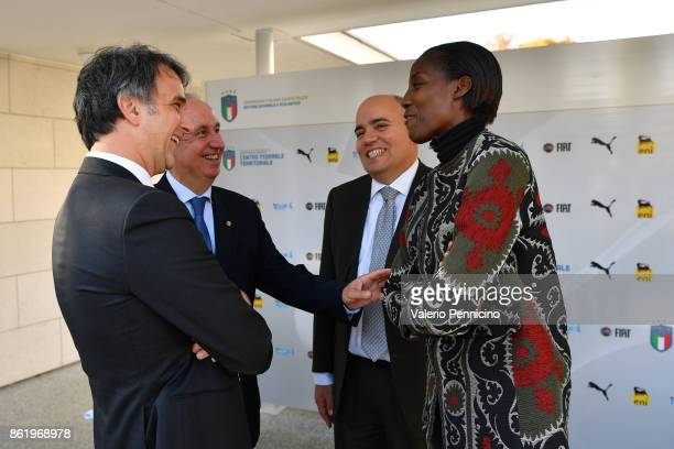 FIGC General Director Michele Uva Edo Milanesio Alessandro D Este and Fiona May attend during the Italian Football Federation Unveils New Regional...
