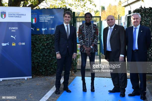 FIGC General Director Michele Uva Fiona May Alessandro D Este and Edo Milanesio attend during the Italian Football Federation Unveils New Regional...