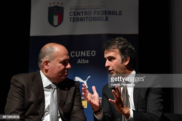 General Director Michele Uva talks with Alessandro D Este during as the Italian Football Federation Unveils New Regional Federal Training Center at...