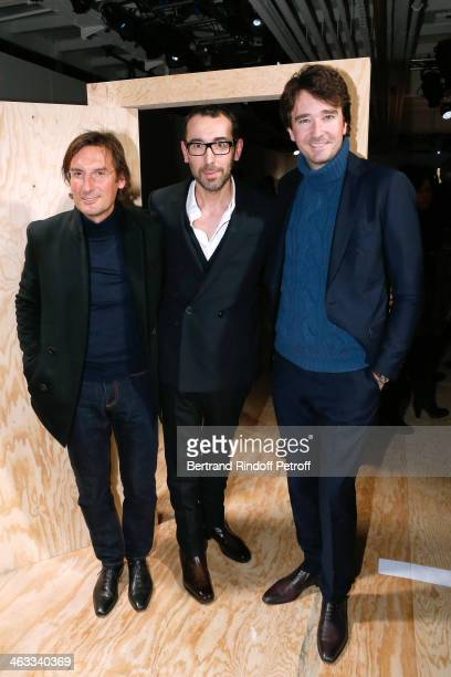 General Director of Berluti Pietro Beccari Fashion designer of Berluti Alessandro Sartori and General manager of Berluti Antoine Arnault attends the...
