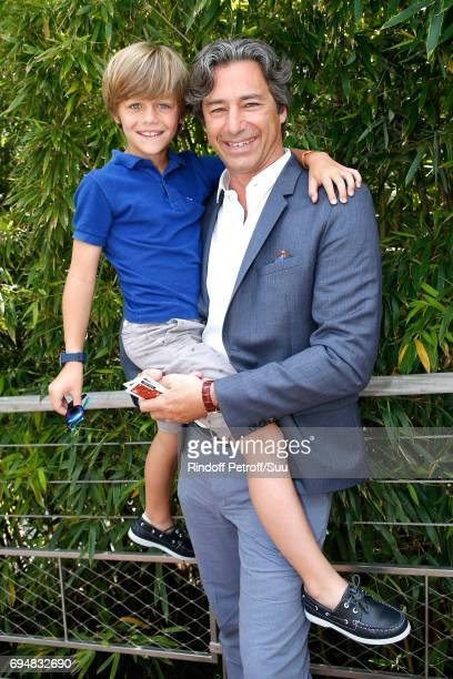 General Director of Facebook France Laurent Solly and his son Marceau attend the Men Final of the 2017 French Tennis Open Day Fithteen at Roland...