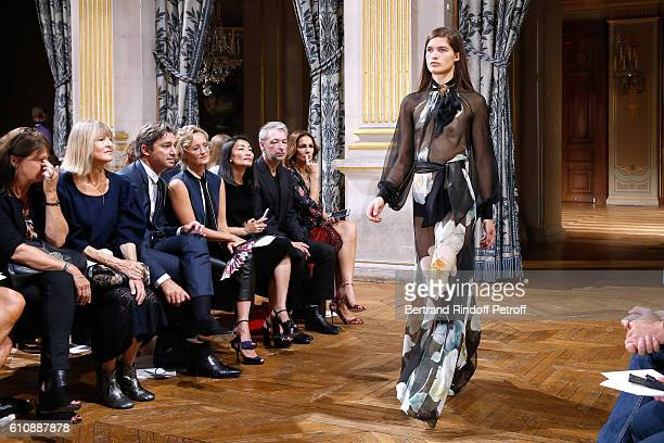 General Director of Facebook France Laurent Solly and his wife journalist Caroline Roux attend the Lanvin show as part of the Paris Fashion Week...
