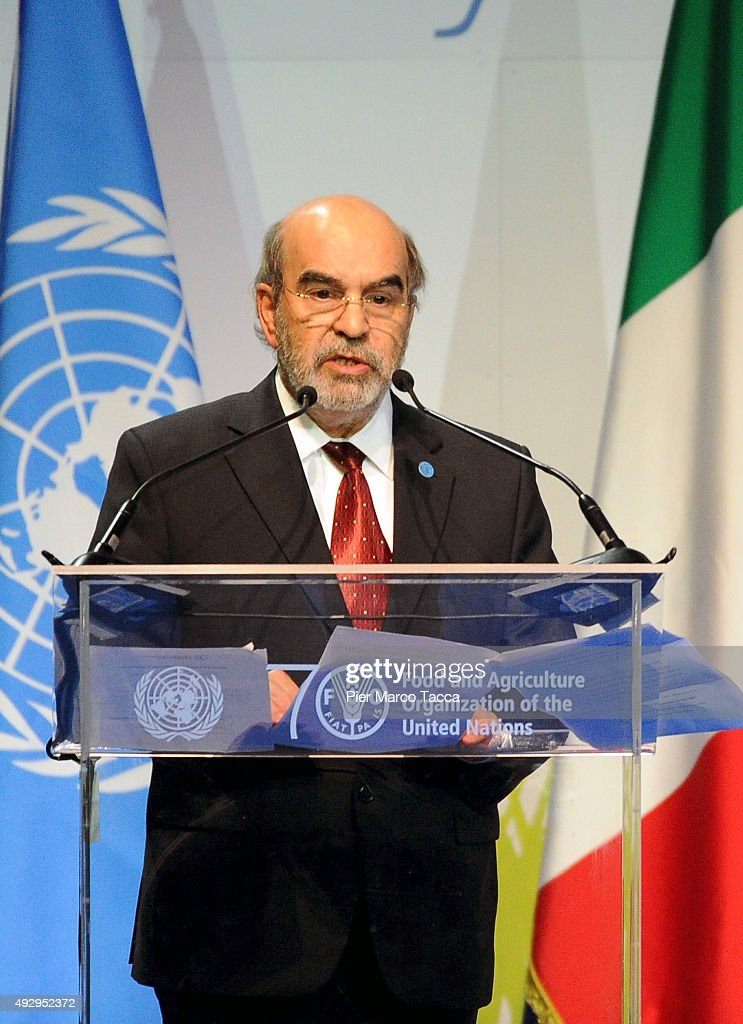 General Director of FAO Jose Graziano da Silva makes a speech during the World Food Day - Expo 2015 on October 16, 2015 in Milan, Italy. The focus of the discussion during the World Food Day 2015, held today in Milan, was how to combat food waste in the world. Queen of Spain Letizia , ambassador of the FAO (United Nations Organization for Food and Agriculture), was among the participants.
