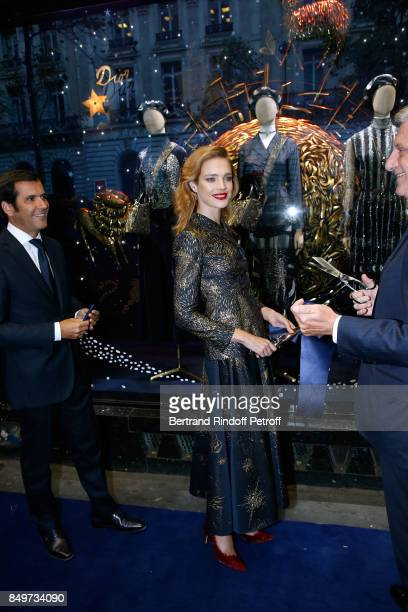 General Director of Galeries Lafayette Nicolas Houze Natalia Vodianova and CEO of Dior Sidney Toledano attend the Inauguration of the Dior showcases...