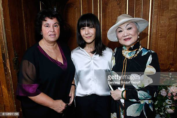 General Director of Lanvin Michele Huiban Artistic Director and Stylist of Lanvin Women Bouchra Jarrar and Owner of Lanvin Shaw Lan Wang pose after...