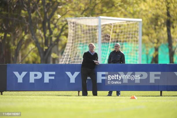 General Director of National Teams of Argentina Carlos Bilardo looks on during a training session at Ezeiza Training camp on October 06 2009 in...