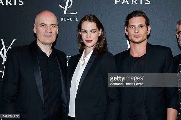 General Director of of Yves Saint Laurent Stephan Bezy Egeria of YSL Beauty model Crista Cober and actor Jeremie Laheurte attend YSL Beauty launches...