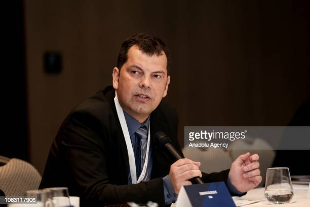 General Director of STA Bojan Veselinovic makes a speech during the 27th Association of the Balkan News Agencies Southeast Europe General Assembly on...