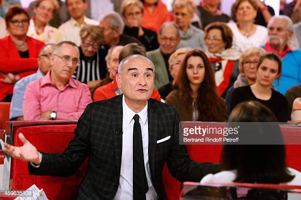 General Director of Universal Music France, Pascal Negre and Main Guest of the show, singer Nana Mouskouri attend the 'Vivement Dimanche' French TV...