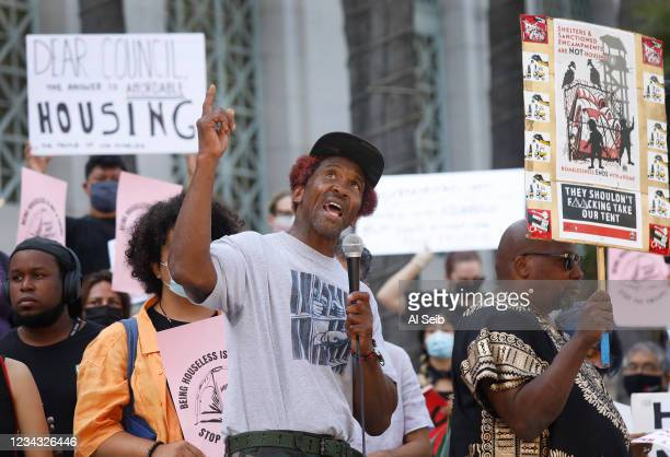 General Dogon from Los Angeles Community Action Network speaks to people gathered for The Right to REST without ARREST Rally and Press Conference on...