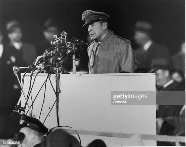 General Douglas MacArthur addressing an audience of 50000 at Soldier's Field Chicago on his first visit to the United States in 14 years 1951 |...