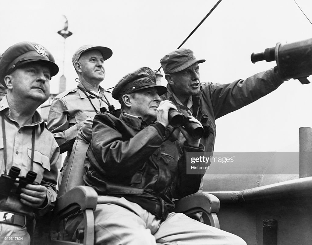 General MacArthur Observing Shelling : News Photo