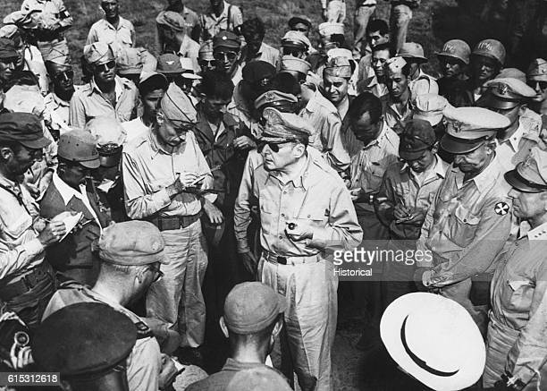 General Douglas MacArthur holds a press conference upon his arrival in Japan August 1945
