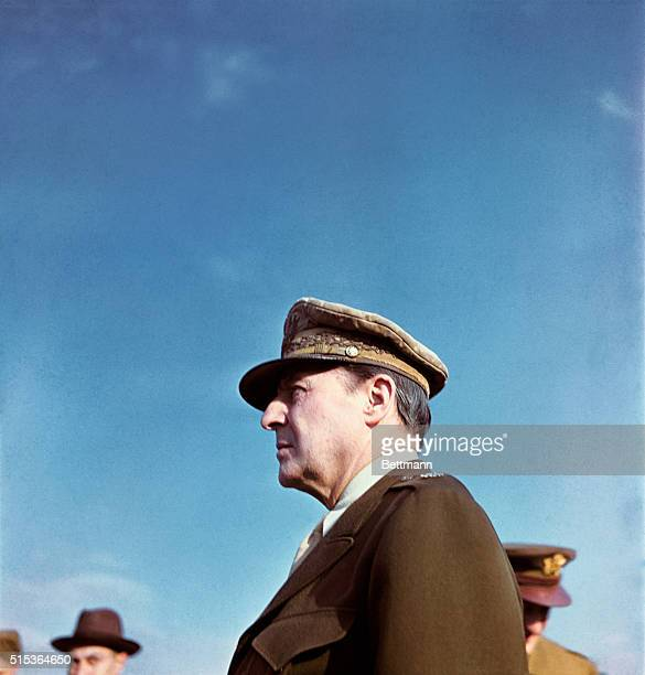 General Douglas MacArthur is shown in a head and shoulders profile portrait while in Tokyo