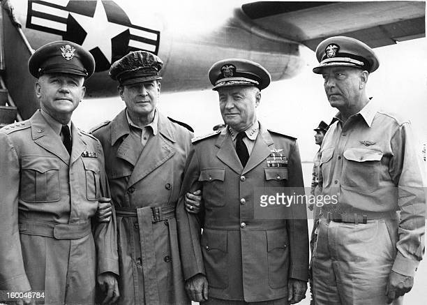 General Douglas MacArthur United Nations Commander in Korea and Admiral Arthur Radford CommanderinChief welcome on their arrival by air the two US...