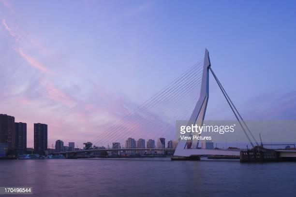 General dusk view Erasmus Bridge Rotterdam Netherlands Architect Ben van Berkel 1996