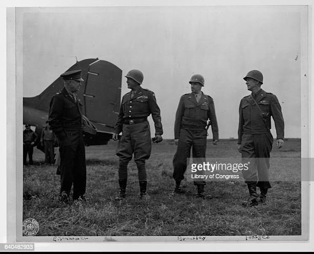General Dwight D. Eisenhower in Germany with General George S. Patton, General Omar Bradley and General Courtney Hodges.