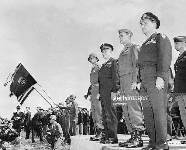 General Dwight D Eisenhower stands next to Gen Matthew B Ridgway the man who may succeed him as NATO chief in this 1944 photo of the Generals...