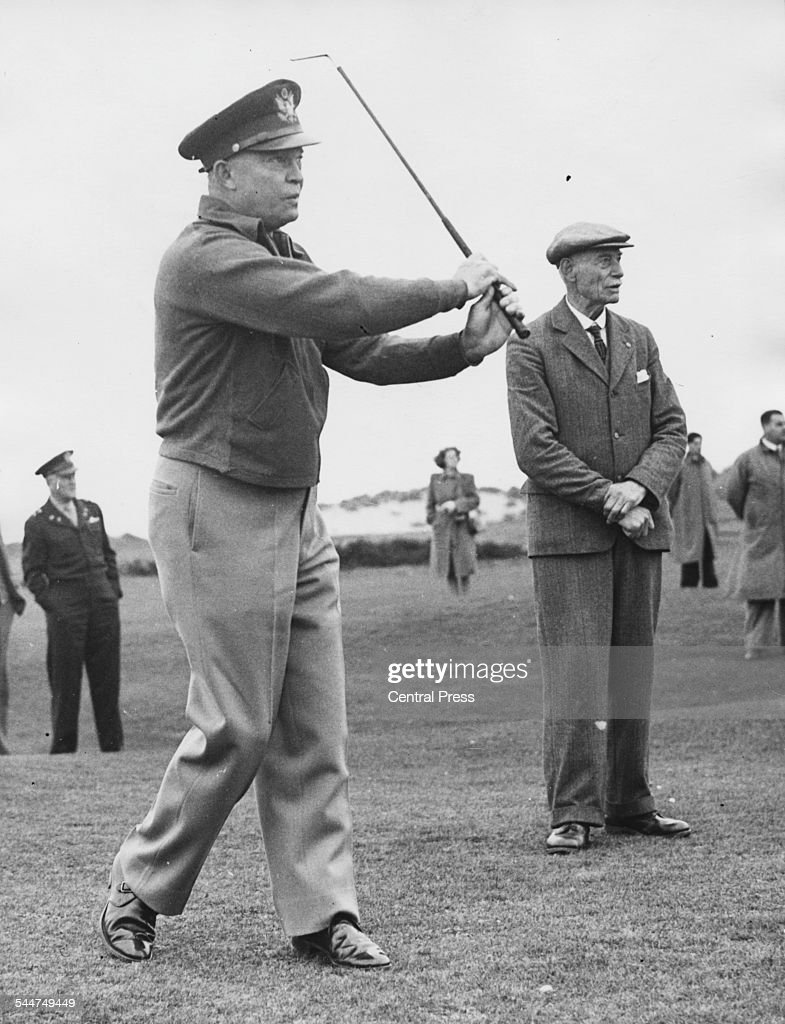 General Dwight Eisenhower playing golf, on the 16th green of The Royal and Ancient Golf Club of St Andrews, Scotland October 10th 1946.