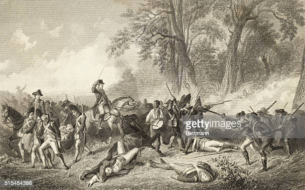 General Edward Braddock being carried off the battlefield at his defeat in the French and Indian War in 1755