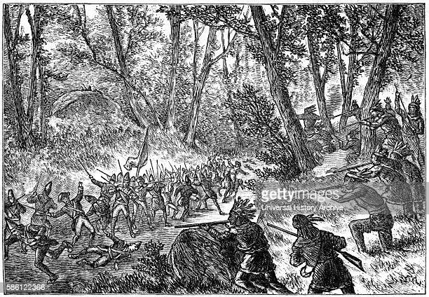 General Edward Braddock ÒBraddockÕs DefeatÓ French and Indian War Book Illustration from ÒIndian Horrors or Massacres of the Red MenÓ by Henry...