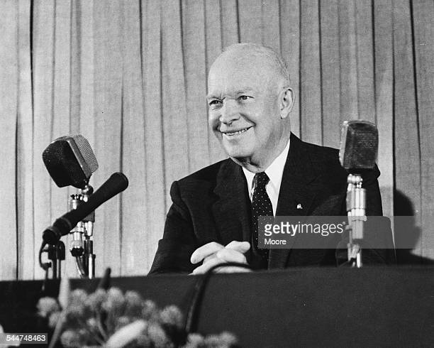 General Eisenhower, former US President, speaking at a press conference at the Savoy Hotel, London, August 15th 1962.