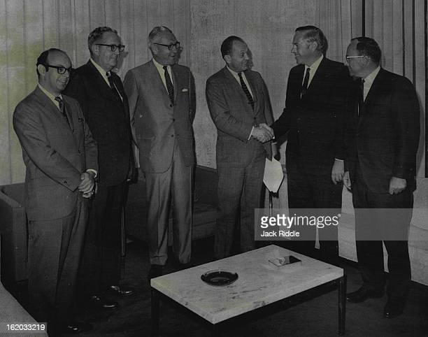 JUL 31 1968 AUG 1 1968 General Electric Acquires KOA Radio and Television From left are Richard Belkin L Mason Harter Richard M Davis William W Grant...