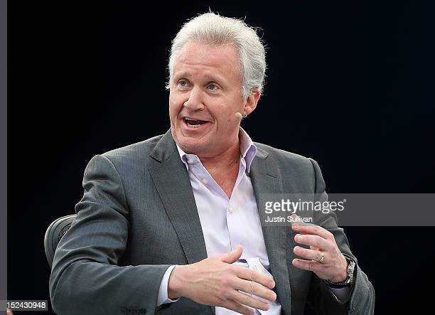 General Electric CEO Jeff Immelt speaks during a panel discussion during the Dreamforce 2012 conference at the Moscone Center on September 20 2012 in...