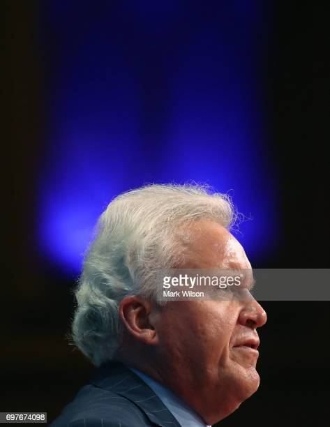 General Electric CEO Jeffrey Immelt participates in a discussion moderated by Commerce Secretary Wilbur Ross during the Select USA 2017 Investment...